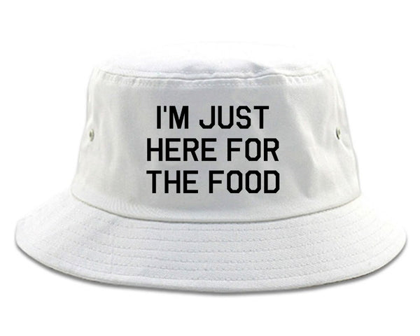 Im Just Here For The Food white Bucket Hat