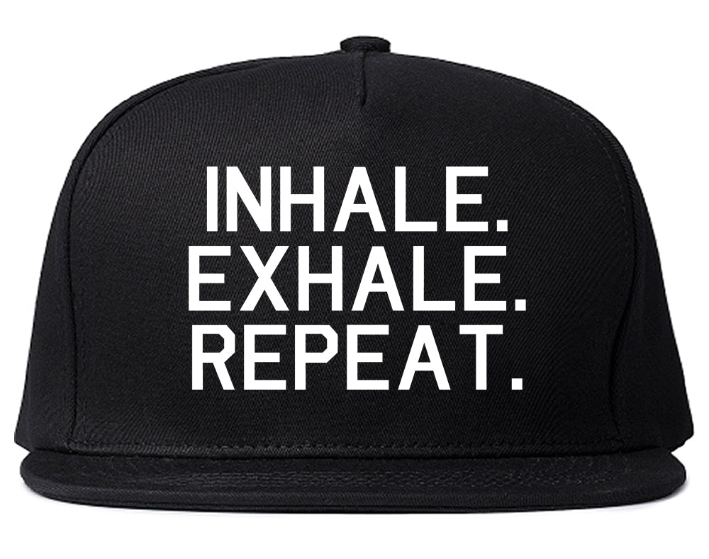 Inhale Exhale Repeat Yoga Black Snapback Hat