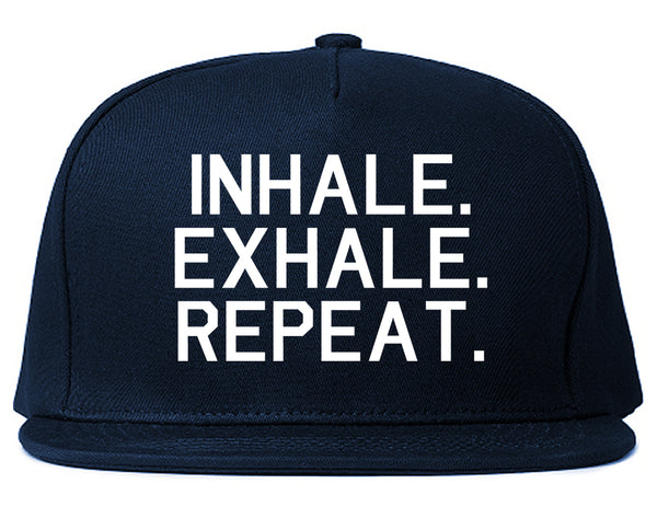 Inhale Exhale Repeat Yoga Blue Snapback Hat