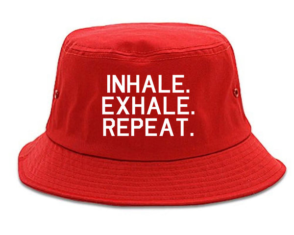 Inhale Exhale Repeat Yoga red Bucket Hat