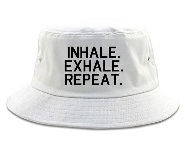 Inhale Exhale Repeat Yoga white Bucket Hat