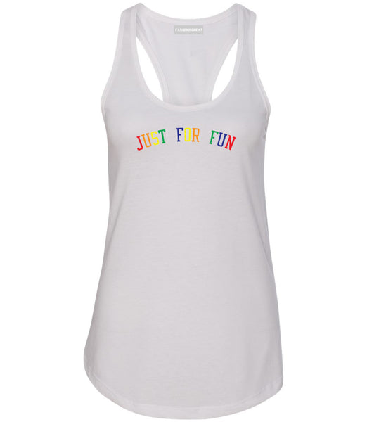 Just For Fun Womens Racerback Tank Top White