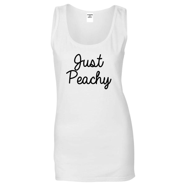 Just Peachy Script White Tank Top
