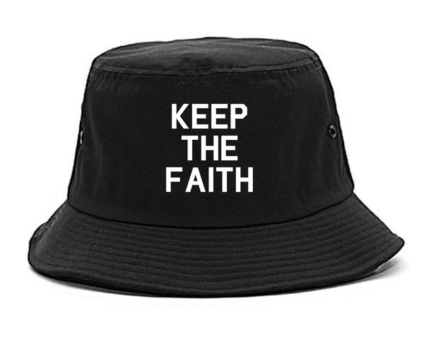 Keep The Faith Inspirational Black Bucket Hat