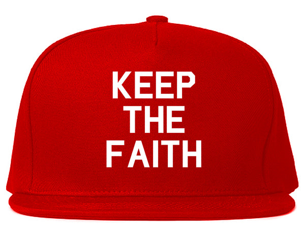 Keep The Faith Inspirational Red Snapback Hat