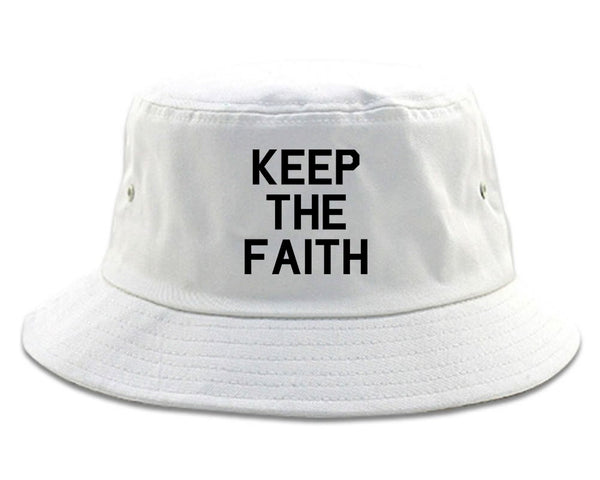 Keep The Faith Inspirational White Bucket Hat