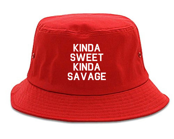 Kinda Sweet Kinda Savage Red Bucket Hat