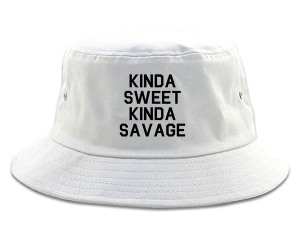 Kinda Sweet Kinda Savage White Bucket Hat