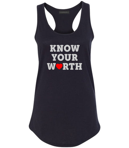 Know Your Worth Heart Womens Racerback Tank Top Black