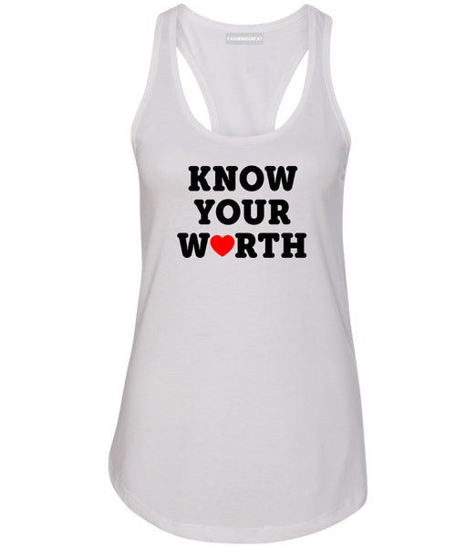 Know Your Worth Heart Womens Racerback Tank Top White