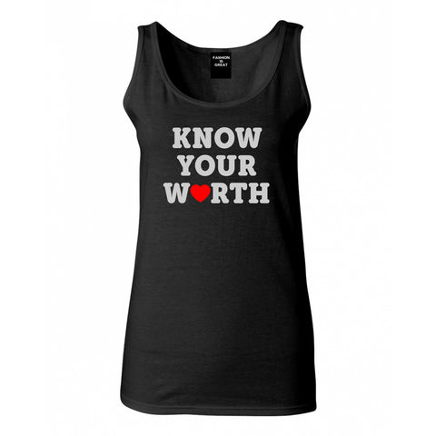 Know Your Worth Heart Womens Tank Top Shirt Black
