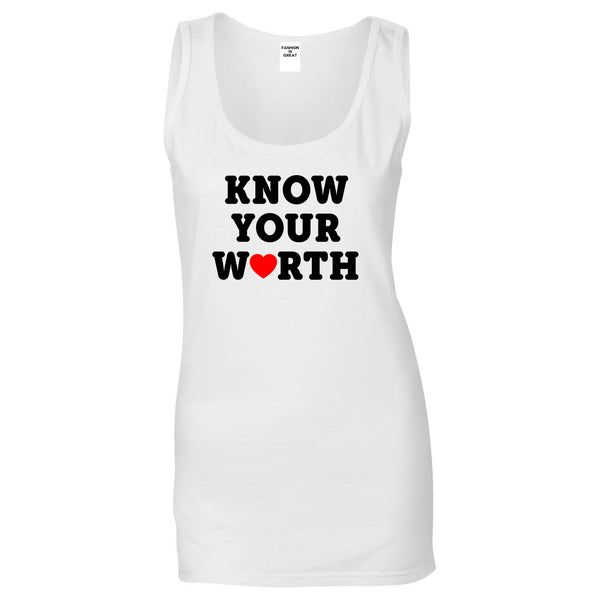 Know Your Worth Heart Womens Tank Top Shirt White