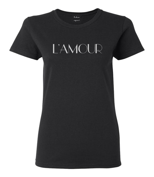 Lamour Love Womens Graphic T-Shirt Black