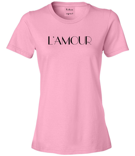 Lamour Love Womens Graphic T-Shirt Pink