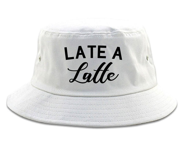 Late A Latte Coffee White Bucket Hat