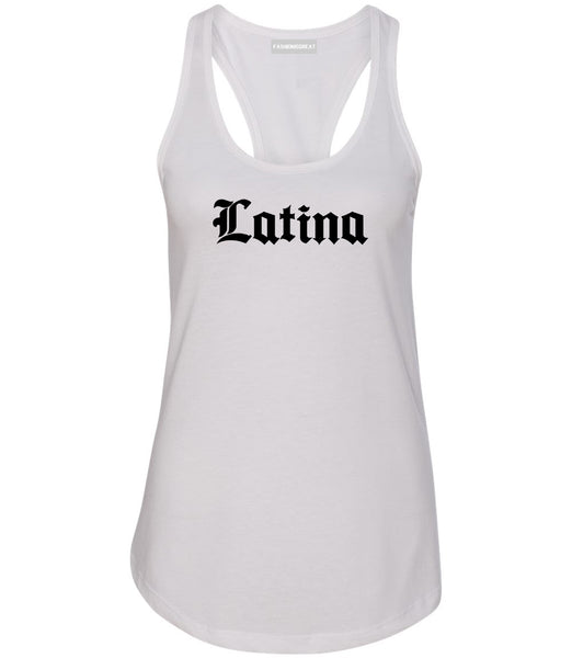 Latina Old English Spanish White Womens Racerback Tank Top