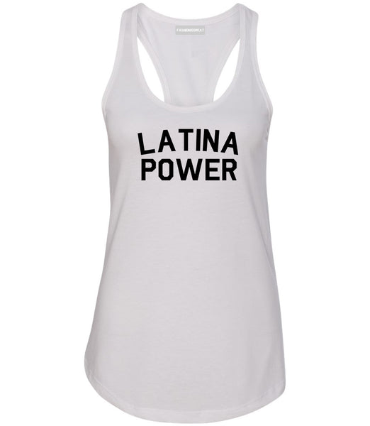 Latina Power Womens Racerback Tank Top White