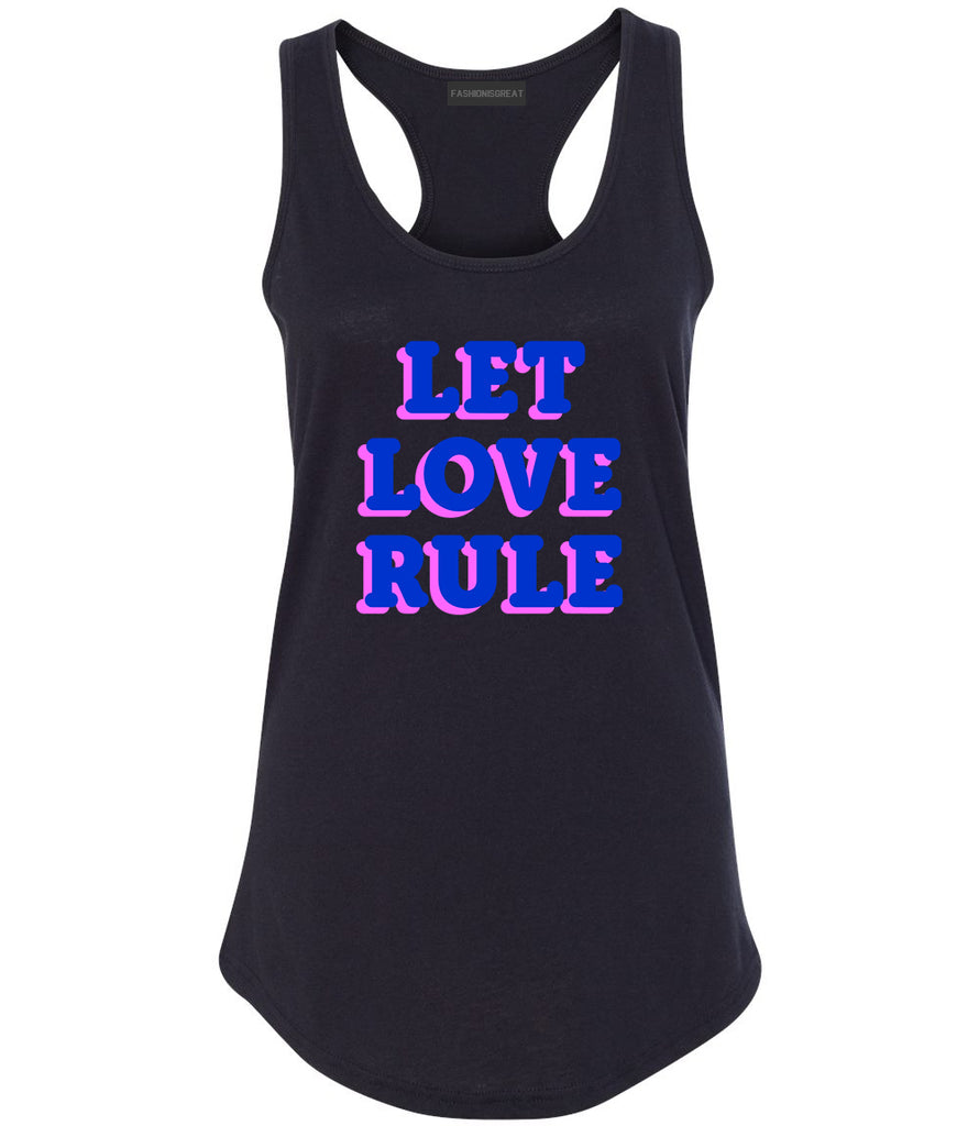 Let Love Rule Graphic Womens Racerback Tank Top Black