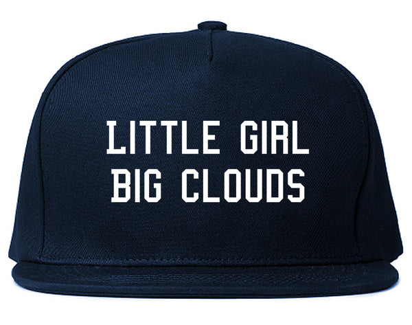 Little Girl Big Clouds Snapback Hat Blue