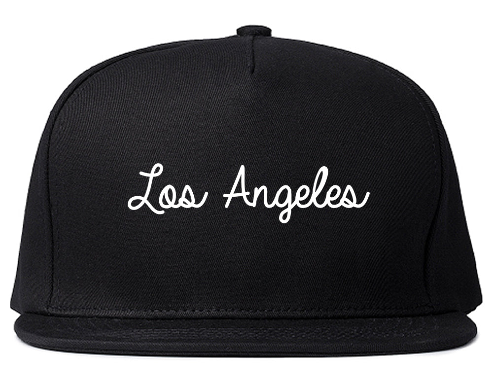 Los Angeles LA Script Chest Black Snapback Hat