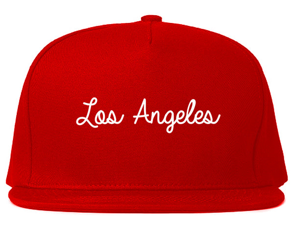 Los Angeles LA Script Chest Red Snapback Hat