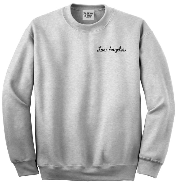 Los Angeles LA Script Chest Grey Womens Crewneck Sweatshirt