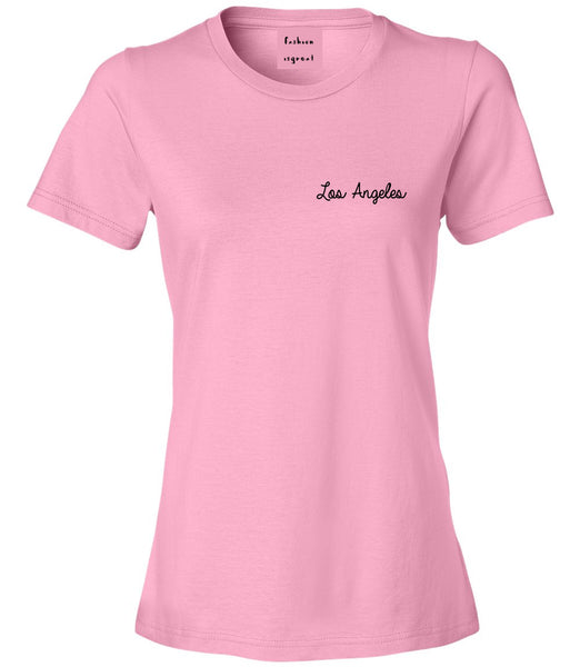 Los Angeles LA Script Chest Pink Womens T-Shirt