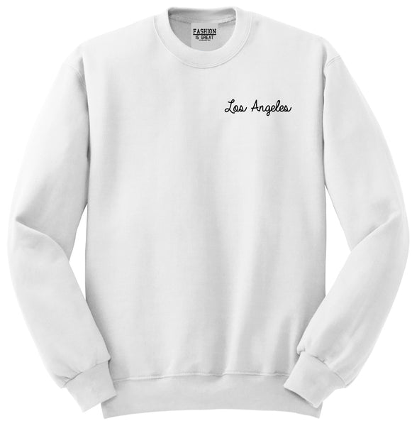 Los Angeles LA Script Chest White Womens Crewneck Sweatshirt