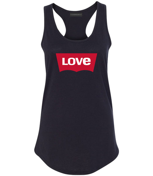 Love Jeans Logo Womens Racerback Tank Top Black