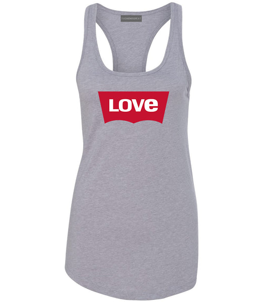 Love Jeans Logo Womens Racerback Tank Top Grey