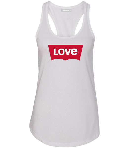 Love Jeans Logo Womens Racerback Tank Top White