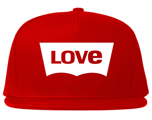 Love Jeans Logo Snapback Hat Red