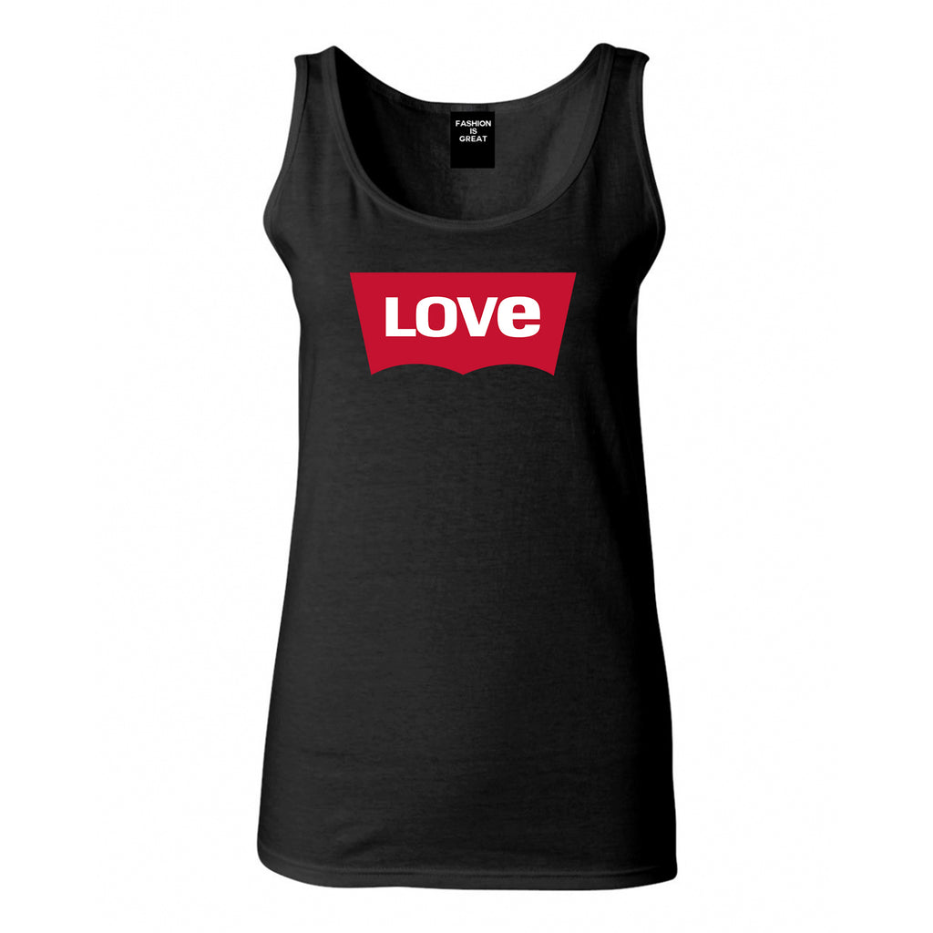 Love Jeans Logo Womens Tank Top Shirt Black