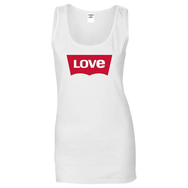 Love Jeans Logo Womens Tank Top Shirt White