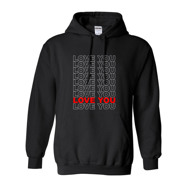 Love You Thank You Black Womens Pullover Hoodie