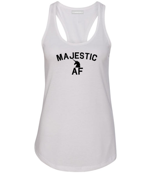 Majestic AF Unicorn Magical Womens Racerback Tank Top White