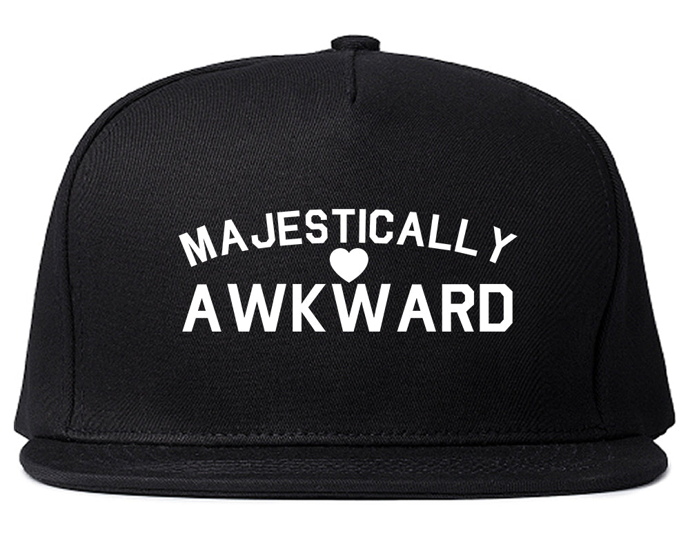 Majestically Awkward Heart Geek Snapback Hat Black