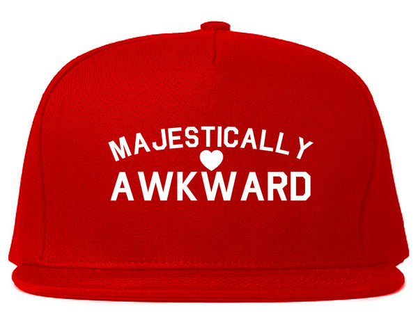Majestically Awkward Heart Geek Snapback Hat Red