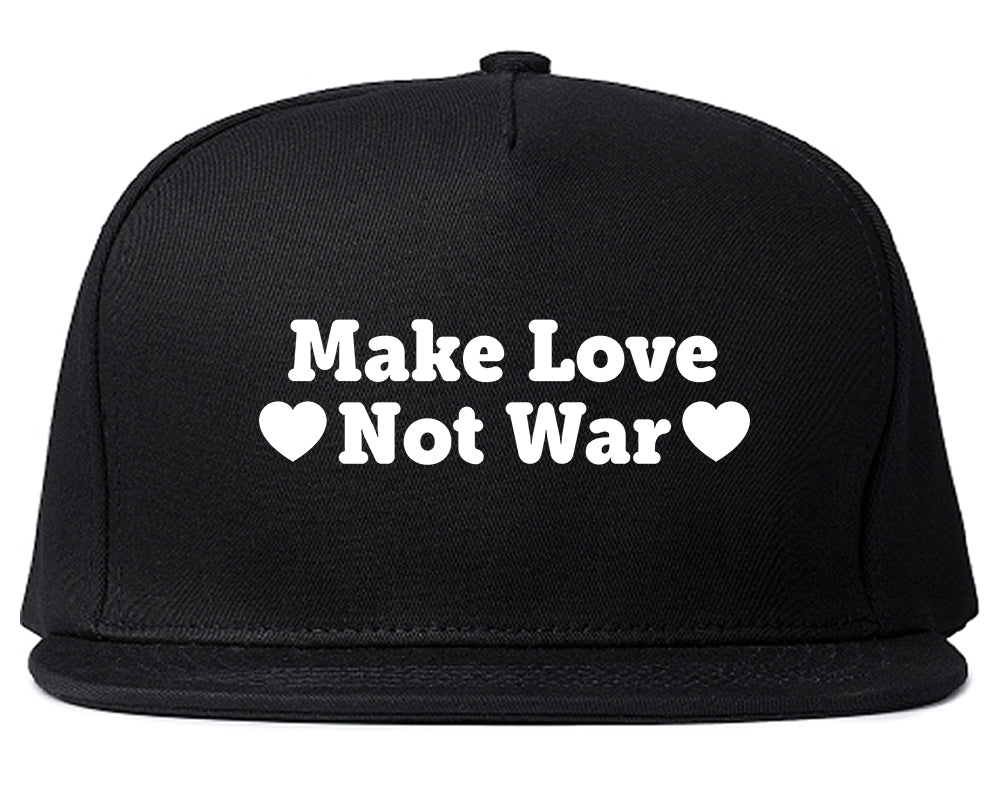 Make Love Not War Hearts Snapback Hat Black