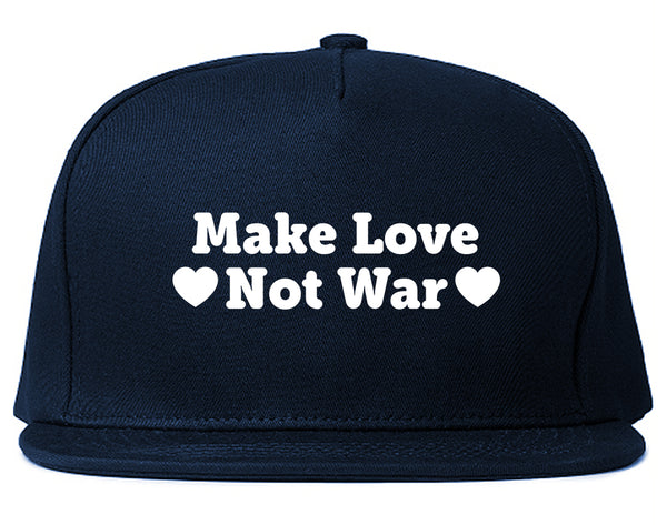 Make Love Not War Hearts Snapback Hat Blue
