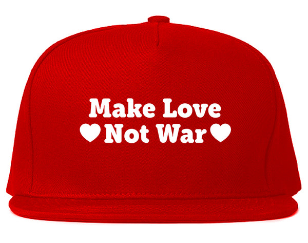 Make Love Not War Hearts Snapback Hat Red