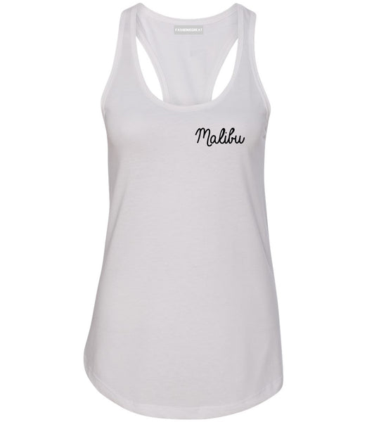 Malibu California Chest White Womens Racerback Tank Top