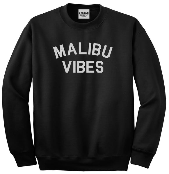 Malibu Vibes Cali California Black Womens Crewneck Sweatshirt