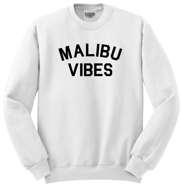 Malibu Vibes Cali California White Womens Crewneck Sweatshirt