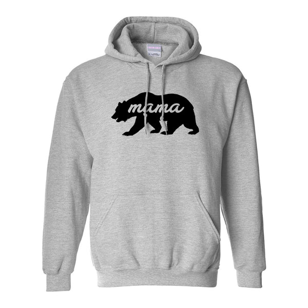 Mama Bear Animal Grey Womens Pullover Hoodie