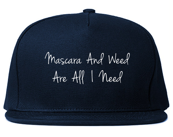 Mascara And Weed All I Need Snapback Hat Blue