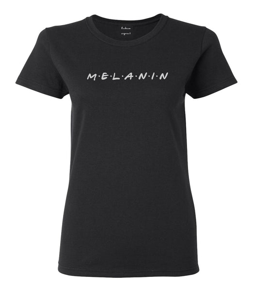 Melanin Friends Magic Womens Graphic T-Shirt Black