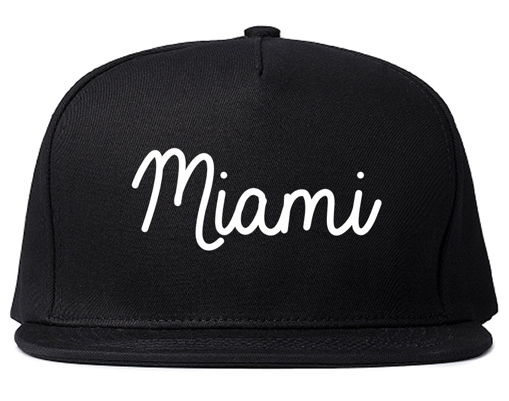Miami Florida Script Chest Black Snapback Hat