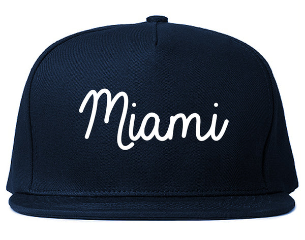 Miami Florida Script Chest Blue Snapback Hat