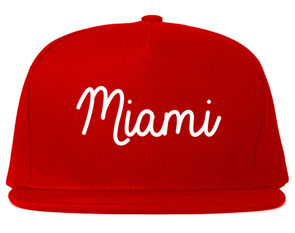Miami Florida Script Chest Red Snapback Hat